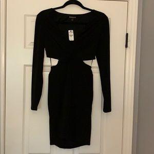 Express long sleeve cut out side dress